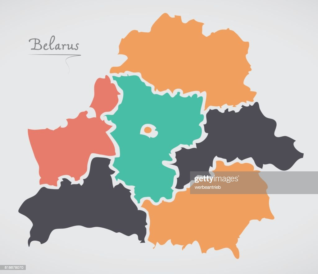Belarus map with states and modern round shapes vector art getty belarus map with states and modern round shapes vector art gumiabroncs Image collections
