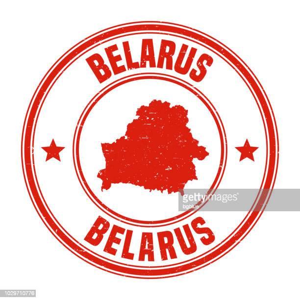 illustrazioni stock, clip art, cartoni animati e icone di tendenza di bielorussia - timbro di gomma grunge rosso con nome e mappa - bielorussia