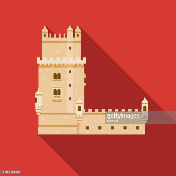 belem tower portugal icon - tower stock illustrations