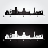 Belfast skyline and landmarks silhouette,