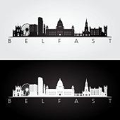 Belfast skyline and landmarks silhouette,