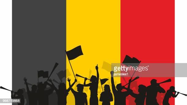 stockillustraties, clipart, cartoons en iconen met belgische fans en vlag - belgische cultuur
