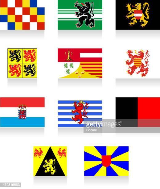 ilustraciones, imágenes clip art, dibujos animados e iconos de stock de bandera belga de las regiones - flandes occidental