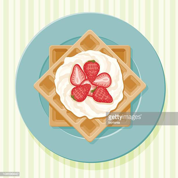 belgian waffles - whipped cream stock illustrations, clip art, cartoons, & icons