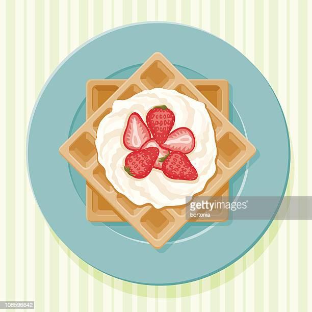 ilustrações, clipart, desenhos animados e ícones de waffles belgas - sobremesa