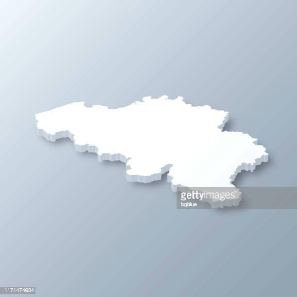belgium 3d map on gray background - belgium stock illustrations