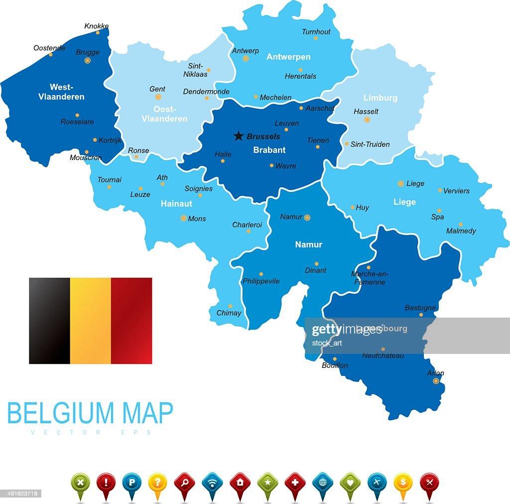 Belgium Blue Map Vector Art Getty Images - Belgium map