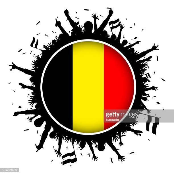 Belgium button flag with soccer fans 2018