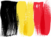 Belgium colorful brush strokes painted flag