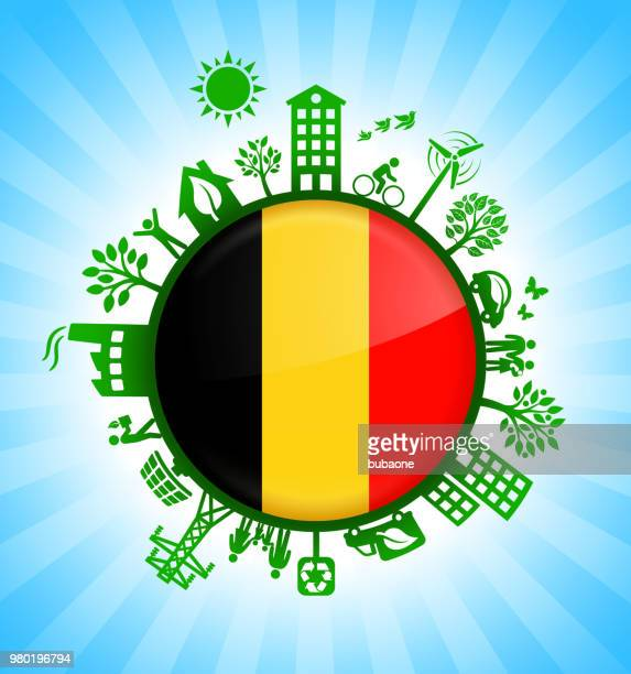 Belgium Flag on Green Environmental Conservation Background