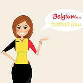 Belgium football fans.Cheerful soccer fans, sports images.Young woman,Pretty girl sign.Happy fans are cheering for their team.Vector illustration