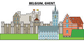 Belgium, Ghent. City skyline, architecture, buildings, streets, silhouette, landscape, panorama, landmarks. Editable strokes. Flat design line vector illustration concept. Isolated icons