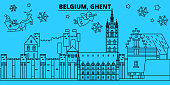 Belgium, Ghent winter holidays skyline. Merry Christmas, Happy New Year decorated banner with Santa Claus.Belgium, Ghent linear christmas city vector flat illustration