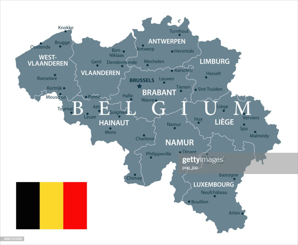 30 - Belgium - Grayscale Isolated 10 : Stock Illustration