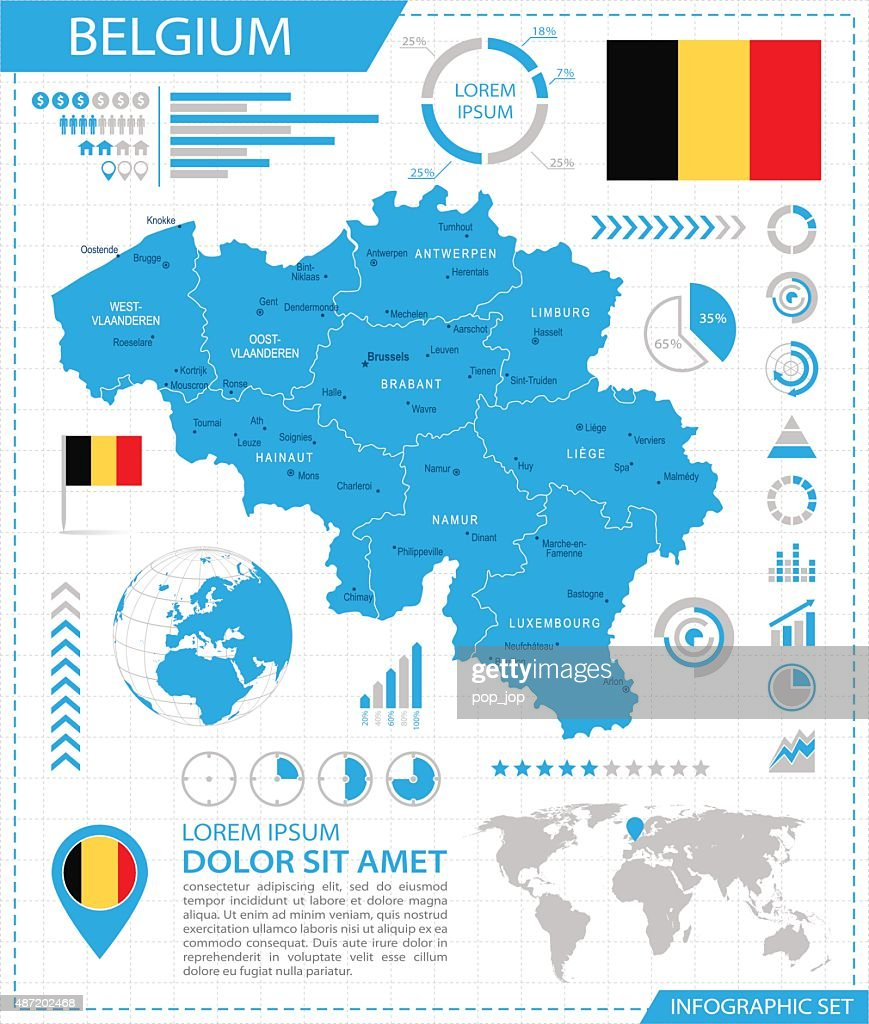 belgium infographic map illustration vector art