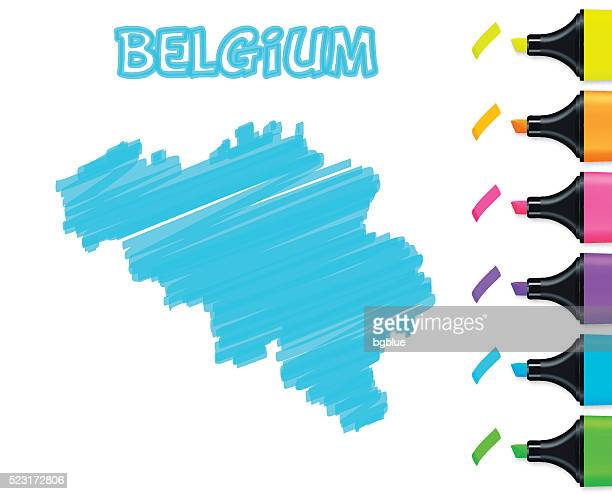 Belgium map hand drawn on white background, blue highlighter