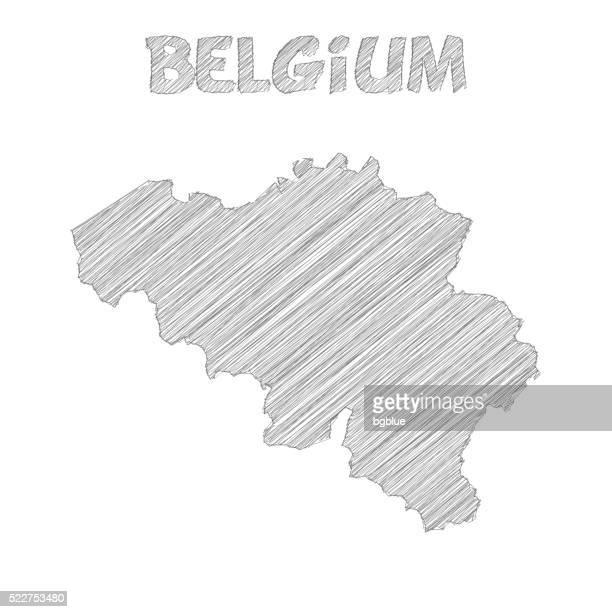 Belgium map hand drawn on white background