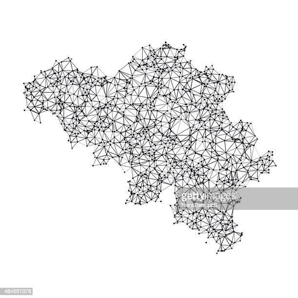 Belgium Map Network Black And White
