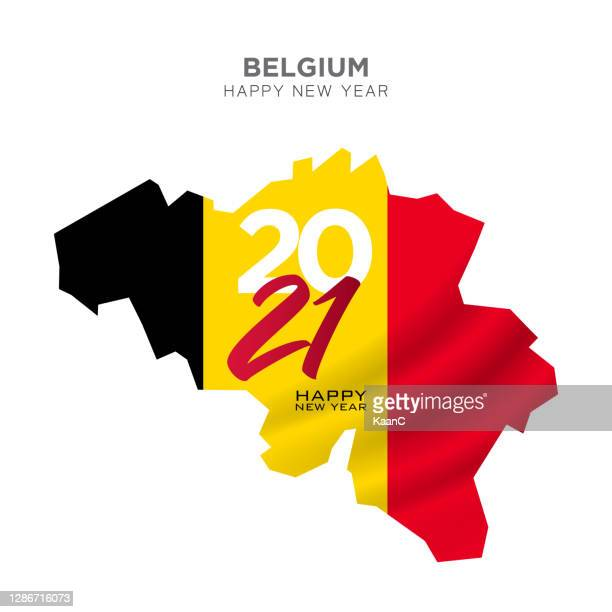 belgium map new year concept design. 2021 new year concept for advertising, banners, leaflets and flyers. vector illustration. - belgium stock illustrations