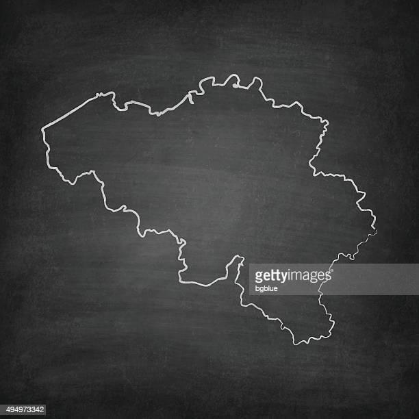 Belgium Map on Blackboard - Chalkboard