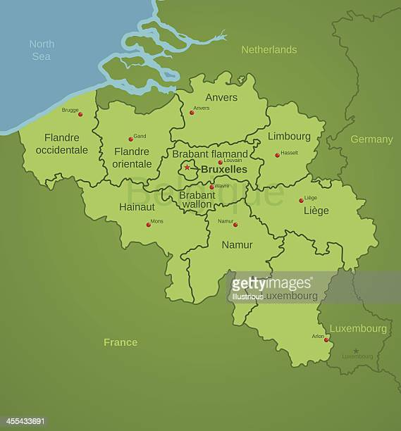 Belgium Map showing Provinces in French