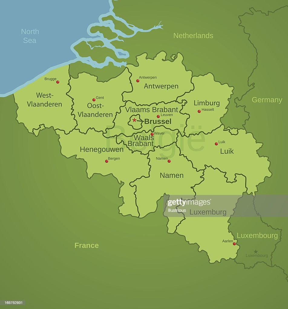 Belgium Map Showing Provinces Vector Art Getty Images