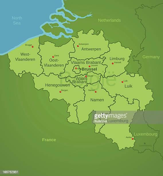Belgium Map showing provinces