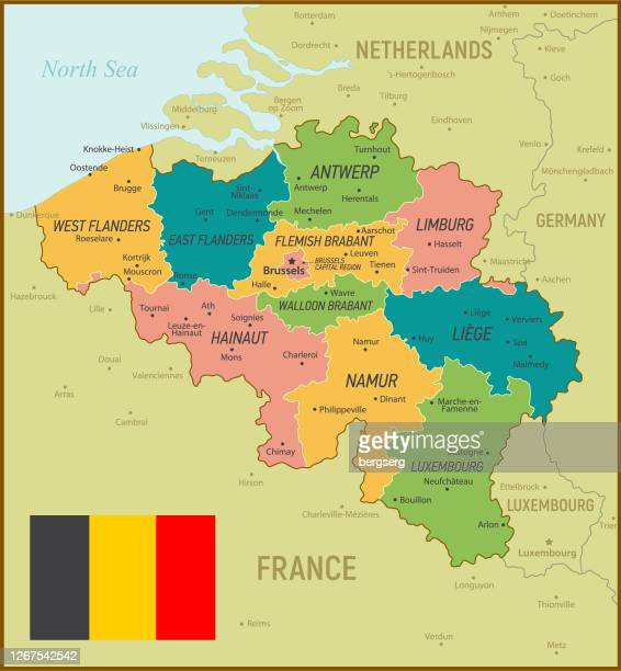 belgium map. vintage illustration with regions and national flag - flanders belgium stock illustrations