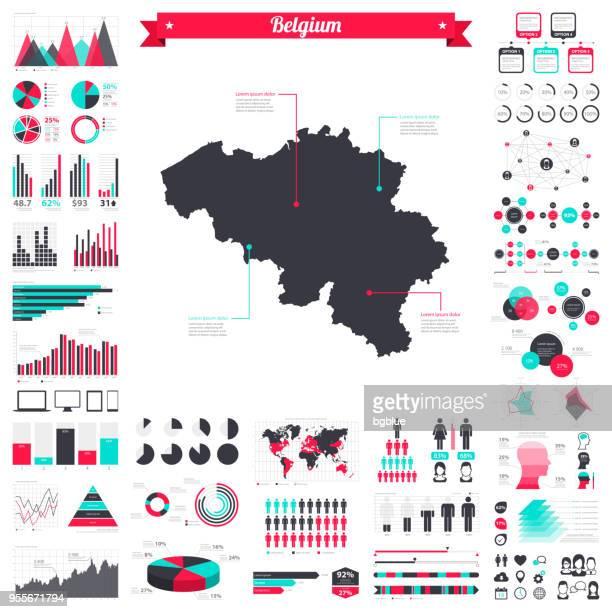 Belgium map with infographic elements - Big creative graphic set