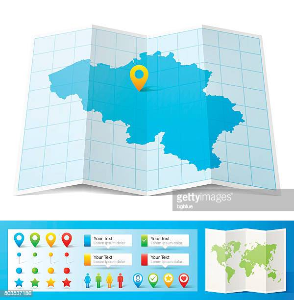 Belgium Map with location pins isolated on white Background