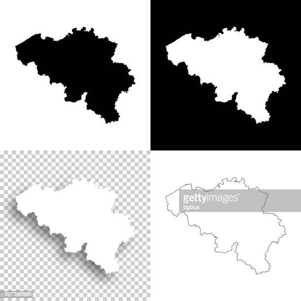 Belgium maps for design - Blank, white and black backgrounds