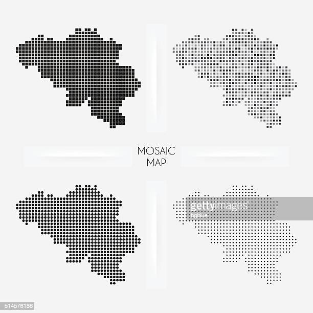 Belgium maps - Mosaic squarred and dotted