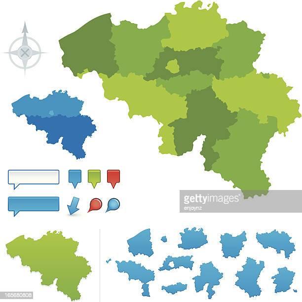 stockillustraties, clipart, cartoons en iconen met belgium provincial map - belgië