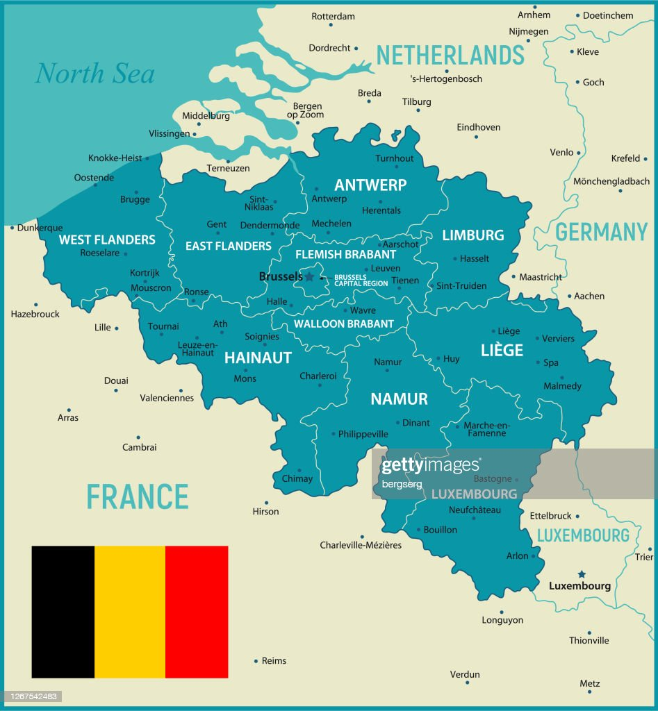 Picture of: Belgium Vector Map Political Map With Regions Geographical Borders Of France Luxembourg Germany And Netherlands High Res Vector Graphic Getty Images