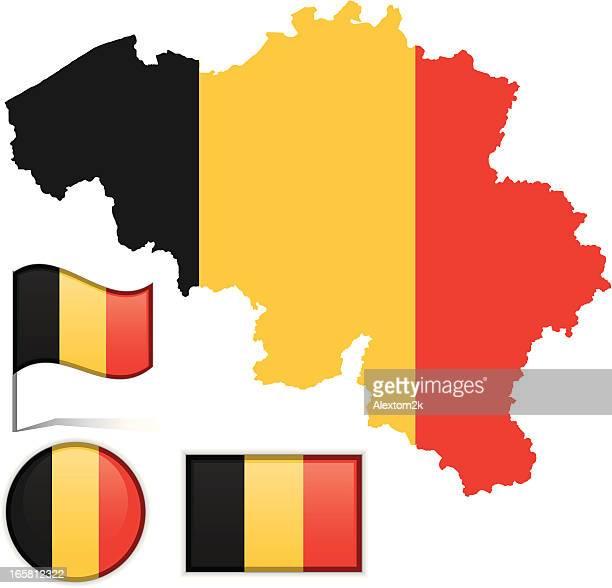 belguim map & flag - belgium stock illustrations