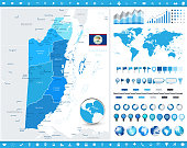 Belize Map and infographic elements