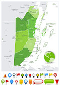 Belize Map Spot Green Colors and glossy icons