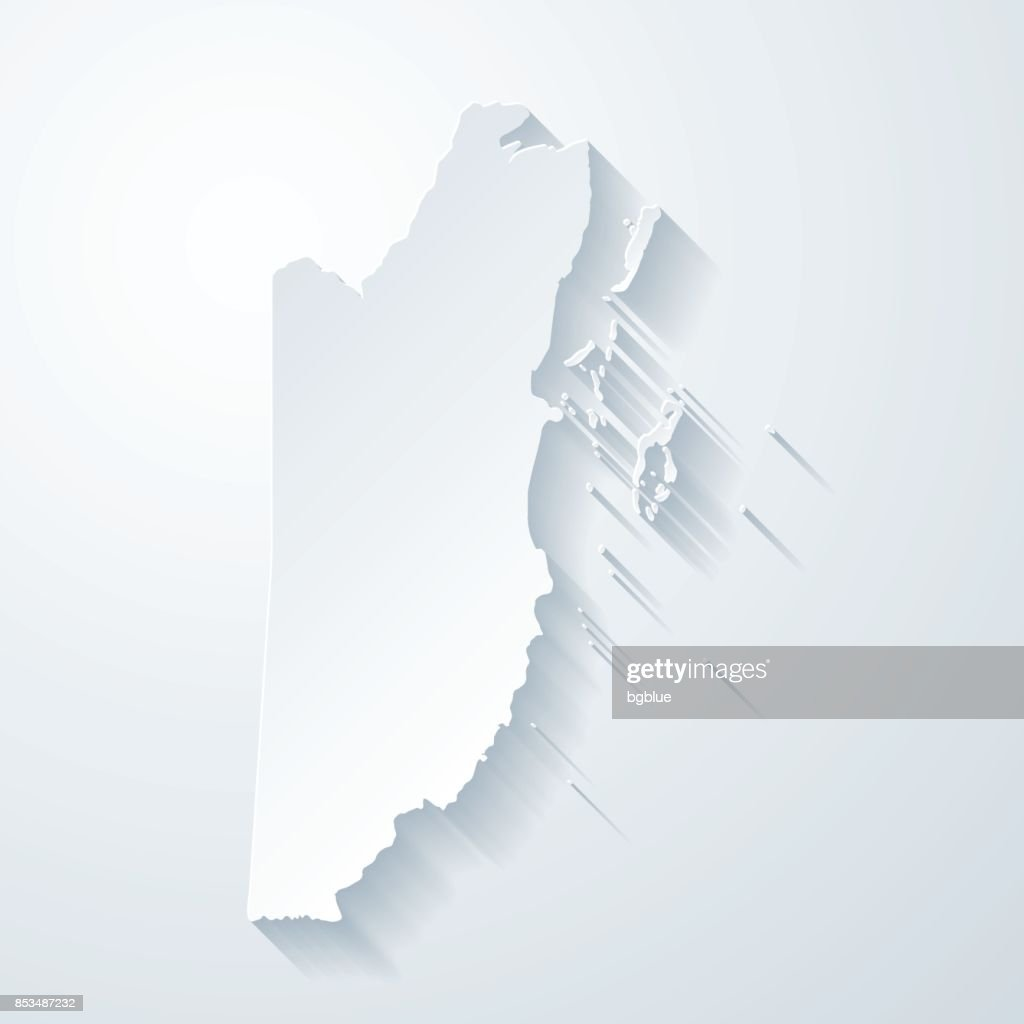 Belize Map With Paper Cut Effect On Blank Background Vector Art ...
