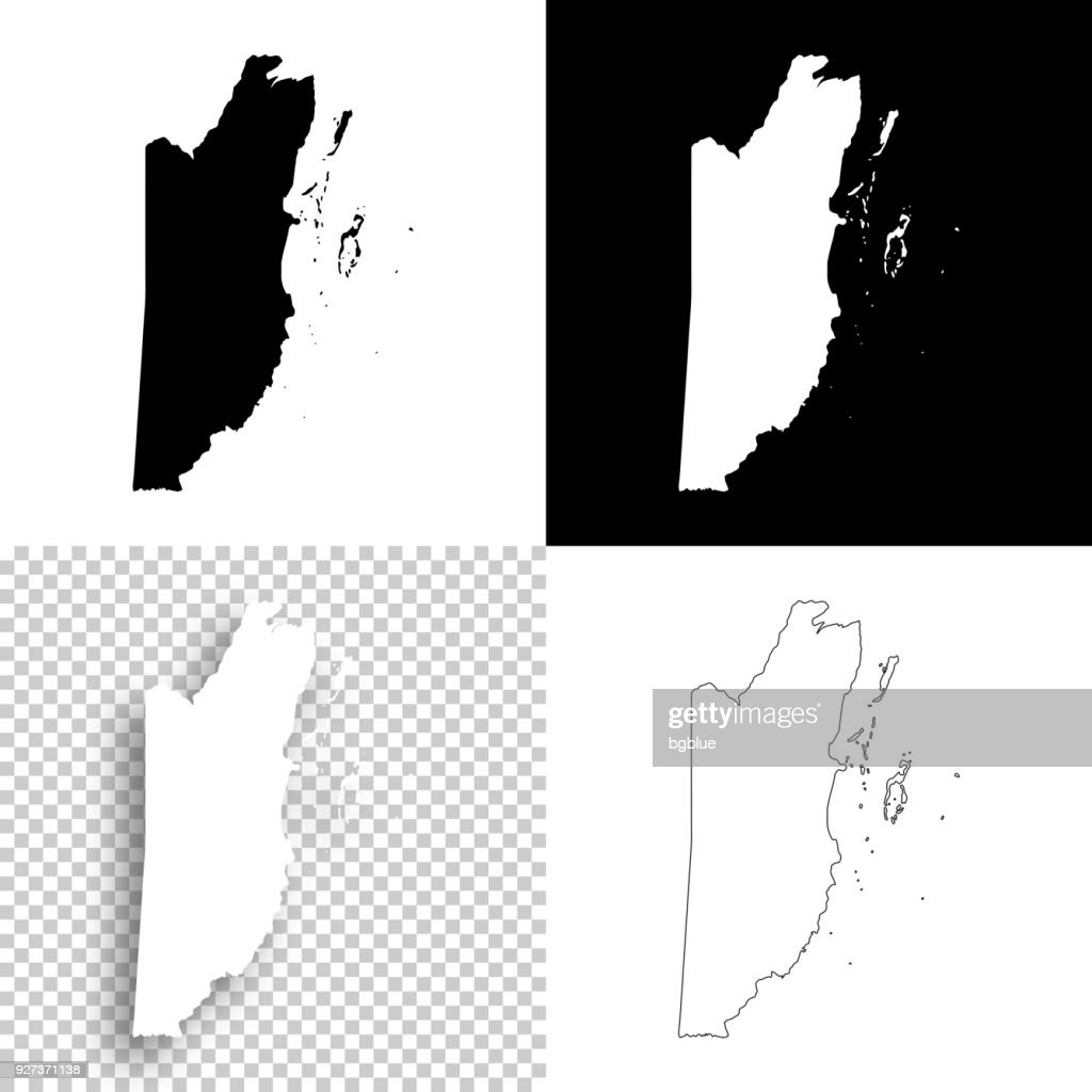 Belize Maps For Design Blank White And Black Backgrounds Vector Art ...