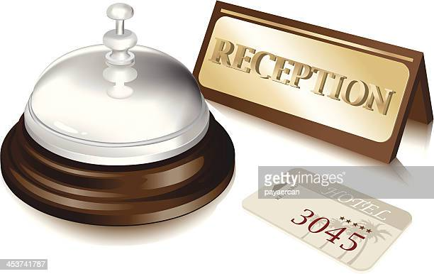 bell and cardkeys - hotel reception stock illustrations, clip art, cartoons, & icons