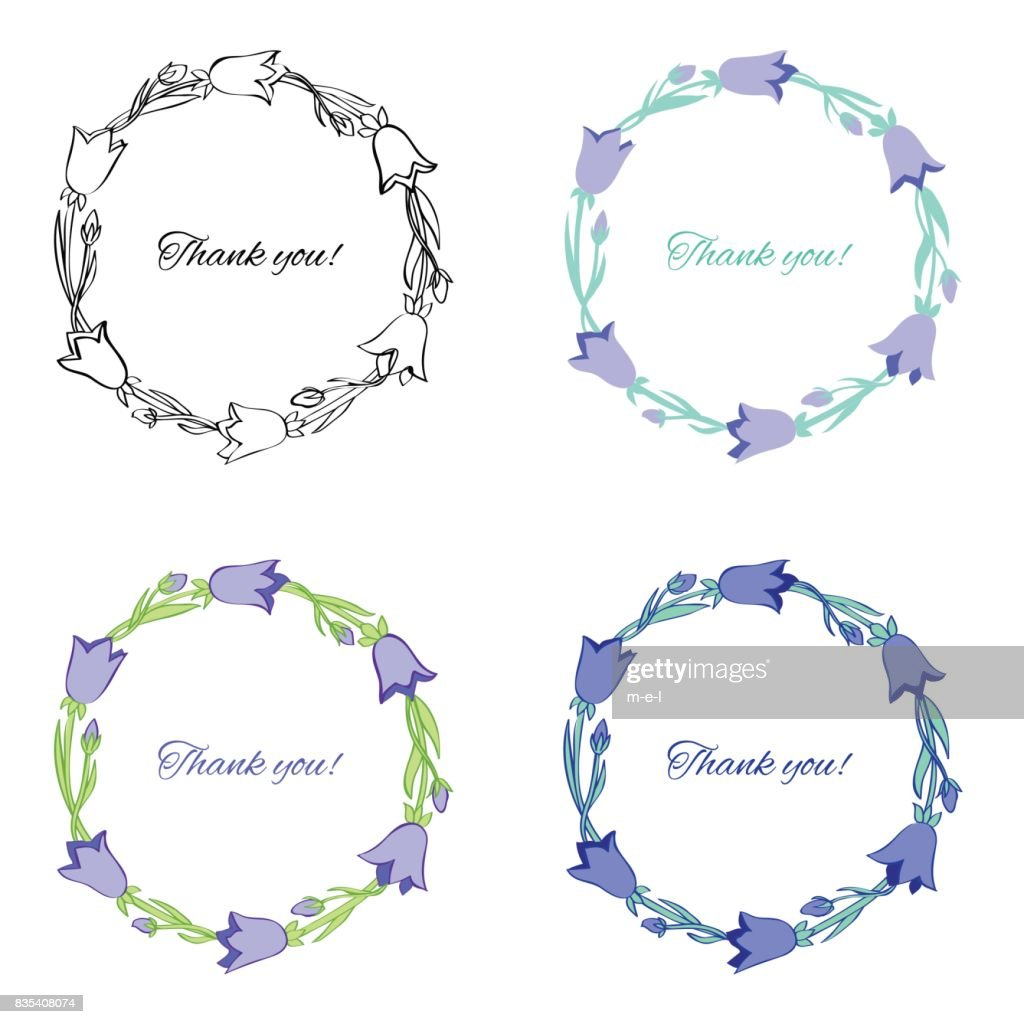 Bell Flower Isolated On White Background Hand Drawn Doodle Wreath