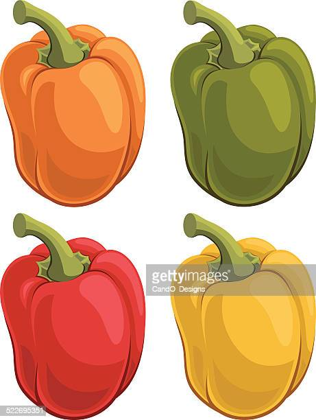 bell pepper cartoon - bell pepper stock illustrations, clip art, cartoons, & icons