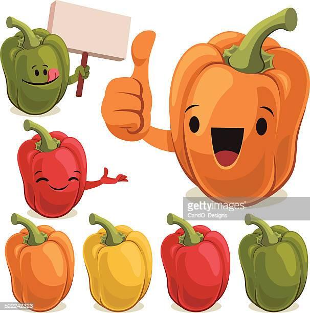 bell pepper set c - bell pepper stock illustrations, clip art, cartoons, & icons
