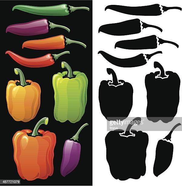 Bell Peppers and Chilli icon set