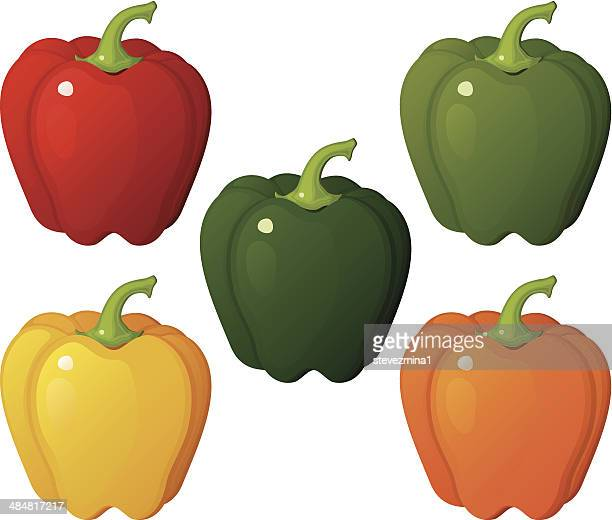 bell peppers - bell pepper stock illustrations, clip art, cartoons, & icons