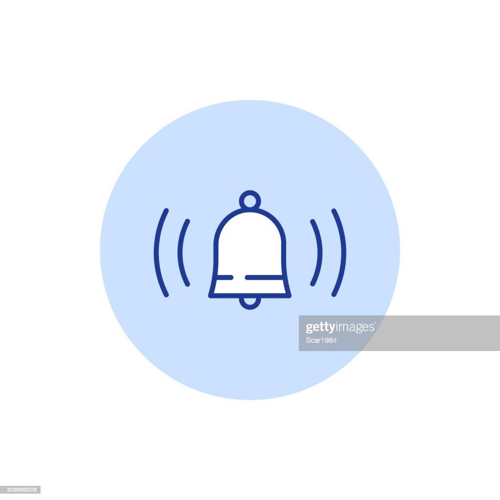 Bell ringing, alarm system, vector stroke icon