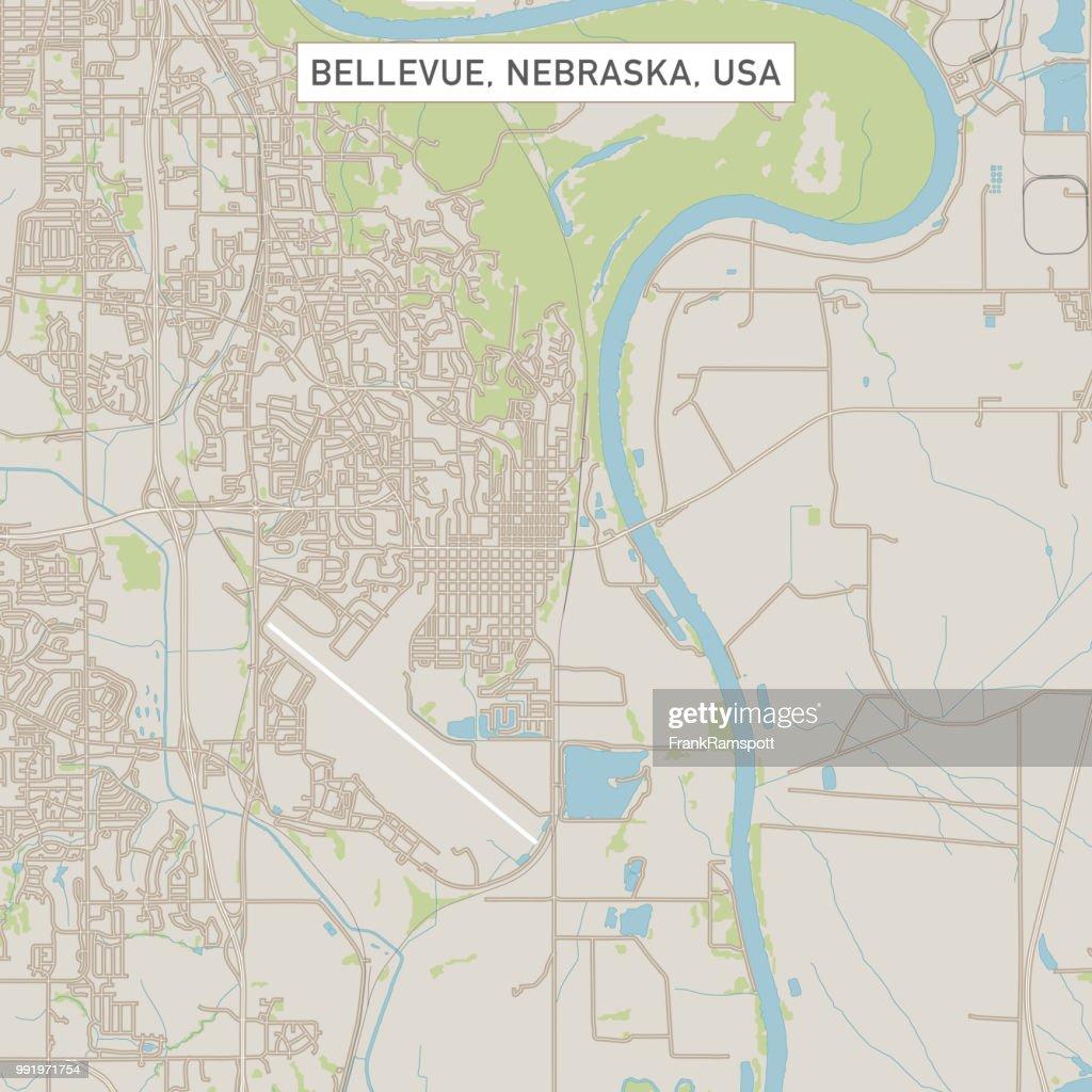 Bellevue Nebraska USA Stadtstraße Karte : Vektorgrafik