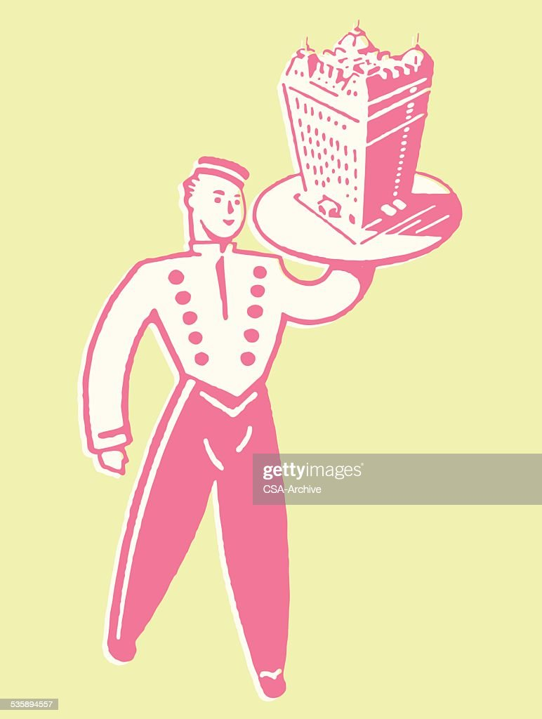 Bellhop with Hotel on Tray : Vector Art