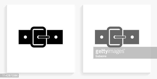 ベルト黒と白の正方形のアイコン - バックル点のイラスト素材/クリップアート素材/マンガ素材/アイコン素材