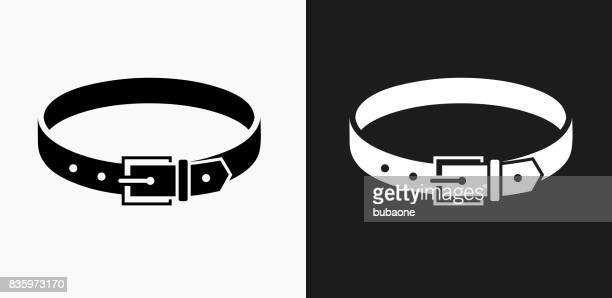 Belt Icon on Black and White Vector Backgrounds